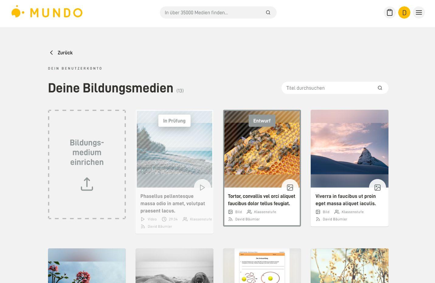 Nutzer-Accounts: Entwurf der persönlichen Medienseite.